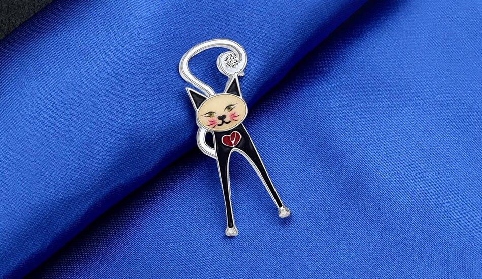 WEVENI Enamel Alloy Rhinestone Cartoon Cat Brooches Pin Jewelry For Women Girls Teens Gift Animal Pets Decorations Charms Bijoux