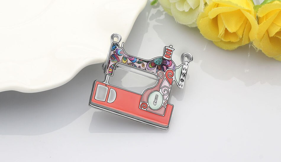 WEVENI Enamel Alloy Floral Sewing Machine Brooches Aesthetic Clothes Scarf Jewelry For Women Girl Lover Party Gift Accessories
