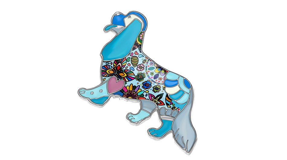 WEVENI Alloy Enamel Cute Cavalier King Charles Spaniel Brooches Clothes Pin Animal Pet Jewelry For Women Girls Gift Accessories