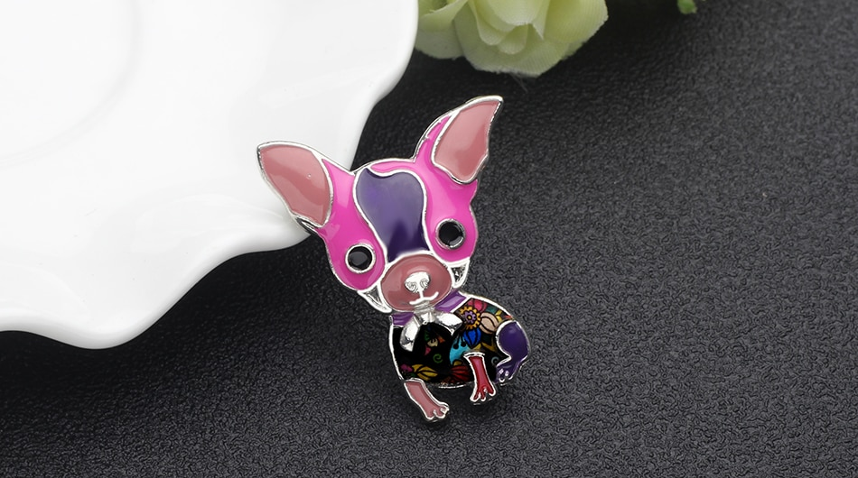 WEVENI Enamel Alloy Chihuahua Dog Brooches Cartoon Animal Jewelry Pin For Scarf Clothes Women Girls Pet Lovers Gift Accessories