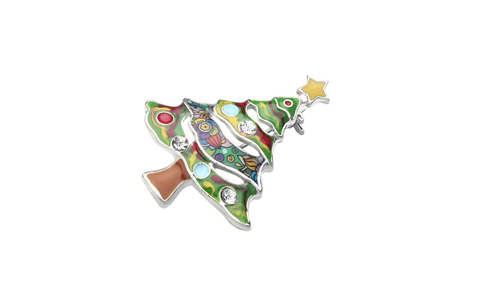 WEVENI Enamel Alloy Christmas Tree Star Brooches Clothes Scarf Navidad Decoration Pin Jewelry Gift For Women Girls Teens Bijoux