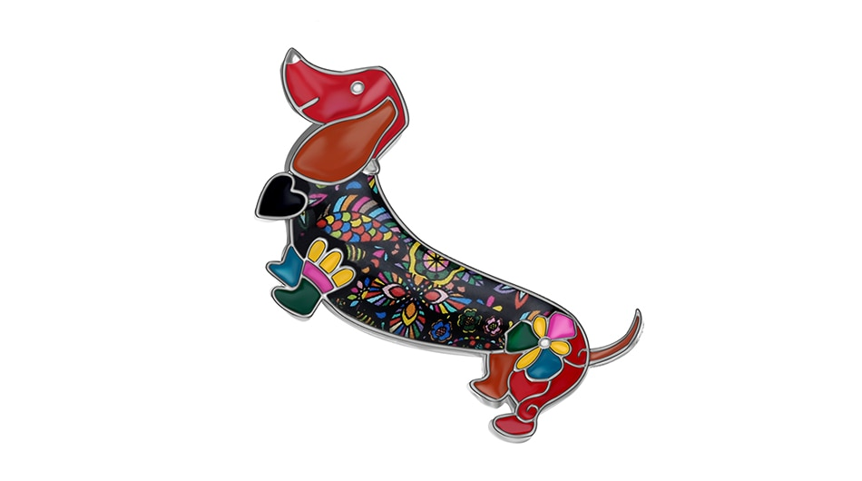 WEVENI Alloy Enamel Smile Dachshund Dog Brooches Clothes Scarf Pin Fashion Animal Pet Jewelry For Women Girls Gift Accessories