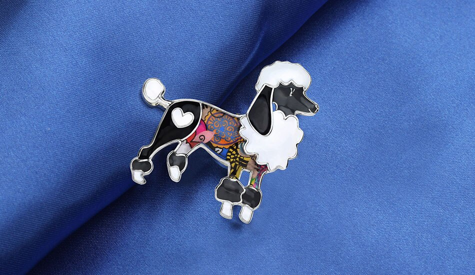 WEVENI Enamel Alloy Cartoon Poodle Dog Brooches Clothes Scarf Decoration Jewelry Pin Gift For Women Girls Animal Pet Accessories