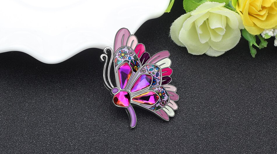 WEVENI Enamel Alloy Rhinestone Fashion Butterfly Brooches Clothes Scarf Pin Cartoon Insect Jewelry For Women Girls Gift Bijoux