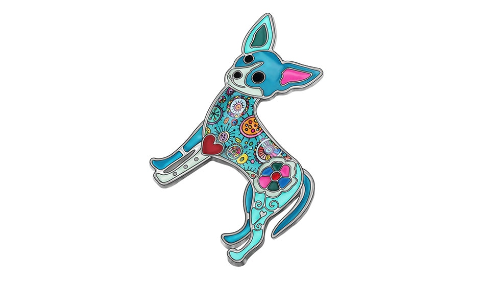 WEVENI Enamel Alloy Floral Chihuahua Dog Brooches Big Lovely Animal Clothes Scarf Jewelry For Women Girls Party Gift Decoration