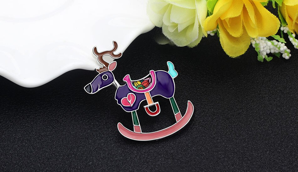 WEVENI Enamel Alloy Christmas Anime Reindeer Deer Brooches Clothes Scarf Pin Animal Gift Jewelry For Women Girls Children Bijoux