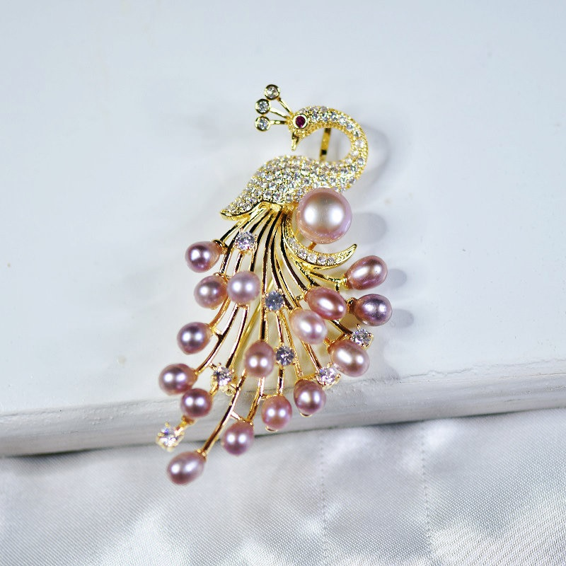 SINZRY goegous natural freshwater pearl zircon phoenix creative shinning brooch pin  lady jewelry accessory