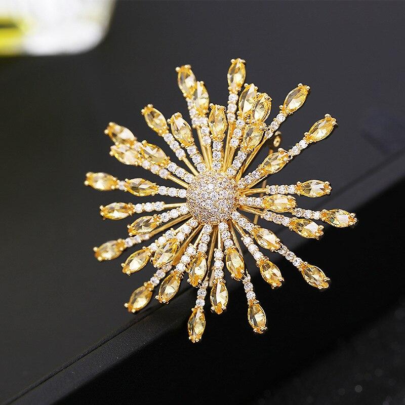 SINZRY new hot bright jewelry accessory cubic zirconia snowflake Korean stylish elegant  brooches pin