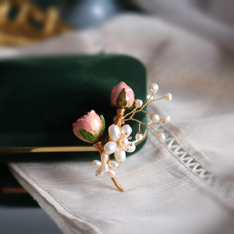 SINZRY elegant handmade freshwater pearl preserved real rose flower sweety suit brooches pin lady fashion jewelry
