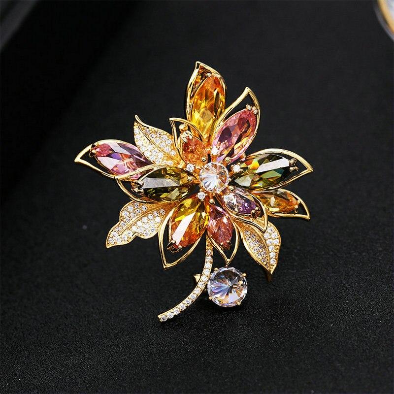 SINZRY HOT trendy jewelry colorful cubic zirconia dazzling flower elegant suit brooch pin Korean stylish jewel