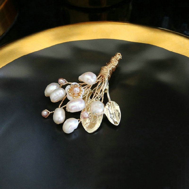 SINZRY elegant New copper handmade natural freshwater pearl flower lady brooch pin creative original design brooches jewelry