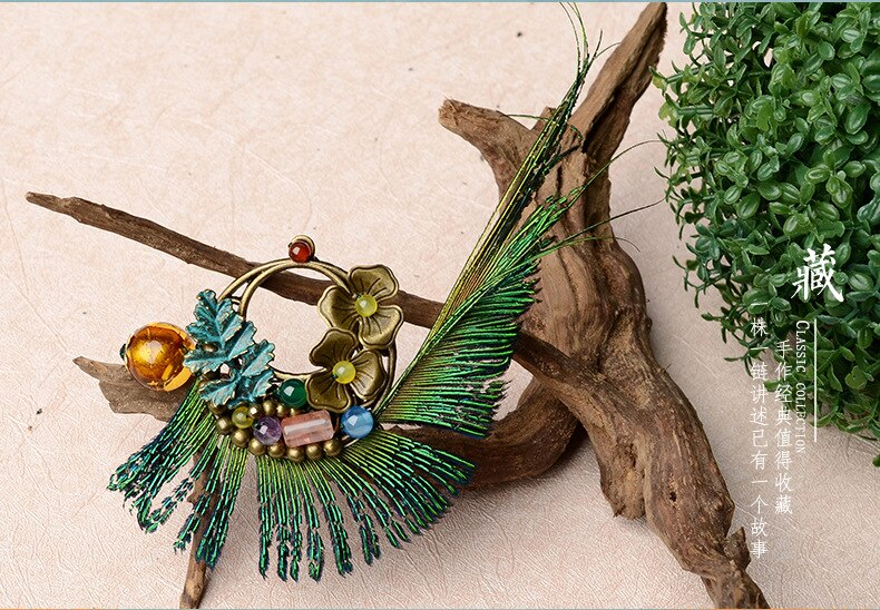 New Original handmade Peacock Feather brooch ,New Ethnic jewelry copper flowers brooch, glazed stones vintage brooch
