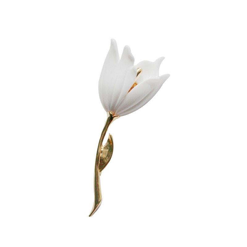 HUANZHI 2020 NEW Vintage Elegant Coat Accessories Metal Shell Flowers Animal Tulip Butterfly Brooch for Women Party  jewelry