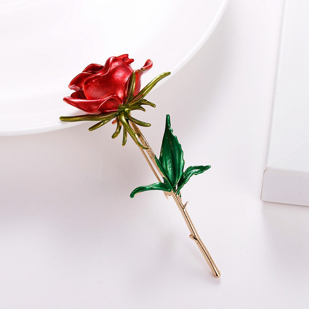Enamel Rose Flower Brooches For Women Lady Fashion Elegant Luxury Flower Pin Spring Summer Design Available Gift Corsage