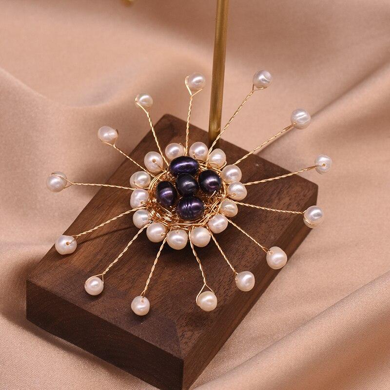 XlentAg Natural Colored Freshwater Pearl Brooch Handmade White Black Sunflower Pins Women Wedding Luxury Bohemian Jewelry GO0359