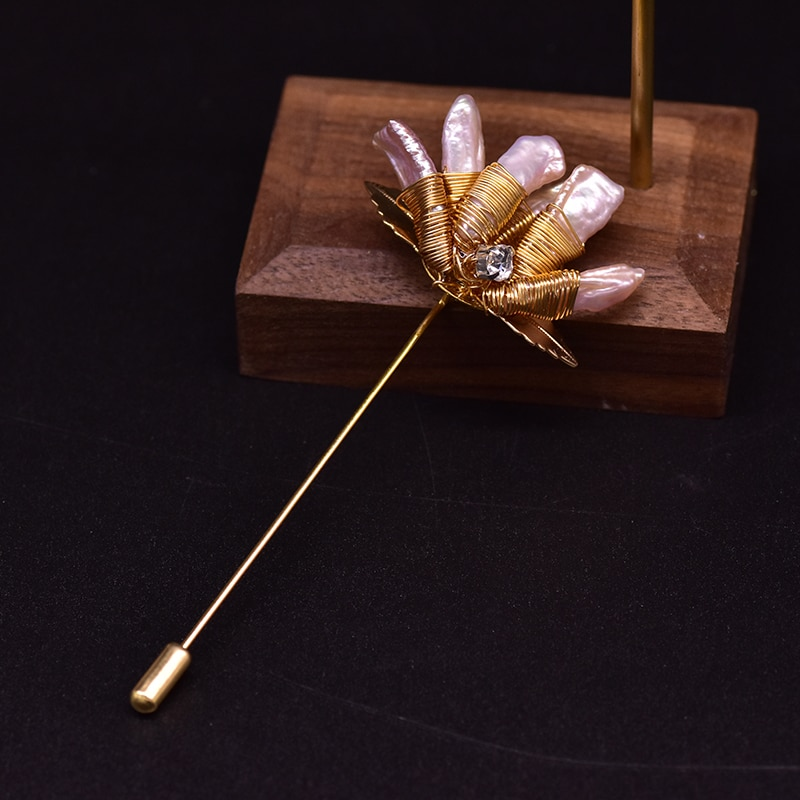 XlentAg Handmade Natural Freshwater Bright Purple Baroque Pearls Brooches Best Friends Wedding Pins Fashion Women Jewelry GO0361