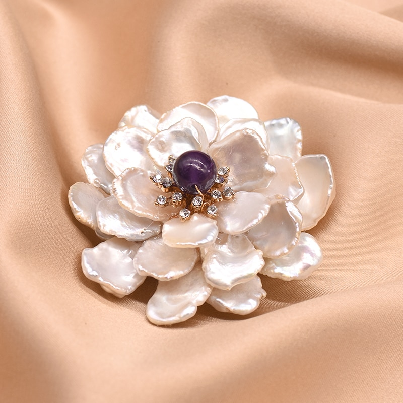 XlentAg Natural Baroque White Pearls Flower Custom Brooch Girl Engagement Angle Pins Kingdom Hearts Fashion Boho Jewelry GO0100A