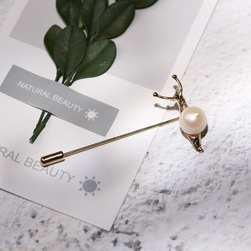 Vanssey Vintage Jewellry Animal Snail Natural Whorl Pearl Brass Brooch Pin Wedding Accessories for Women 2018 New