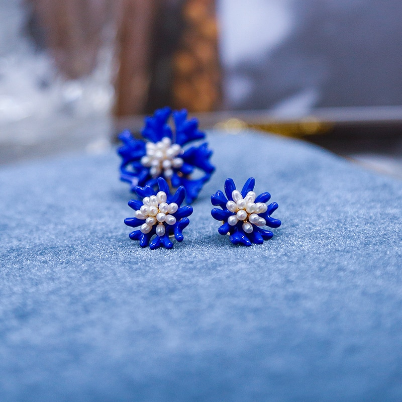 Vanssey Fashion Jewelry Blue Flower Cornflower Bluebottle Natural Pearl Brooch Pin Wedding Party Accessories for Women 2020 New