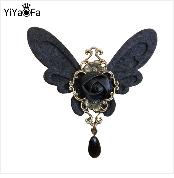 YiYaoFa Handmade Vintage Corsage Pin Women Antique Fabric Brooch Buckle Clothing Retro Women Accessories YBR-41