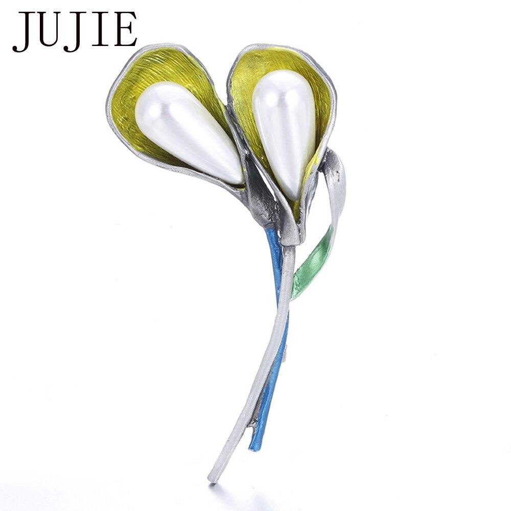 JUJIE Luxury Pearls Flower Brooch Pins Lapel Hijab Enamel Brooches Jewelry Dropshipping