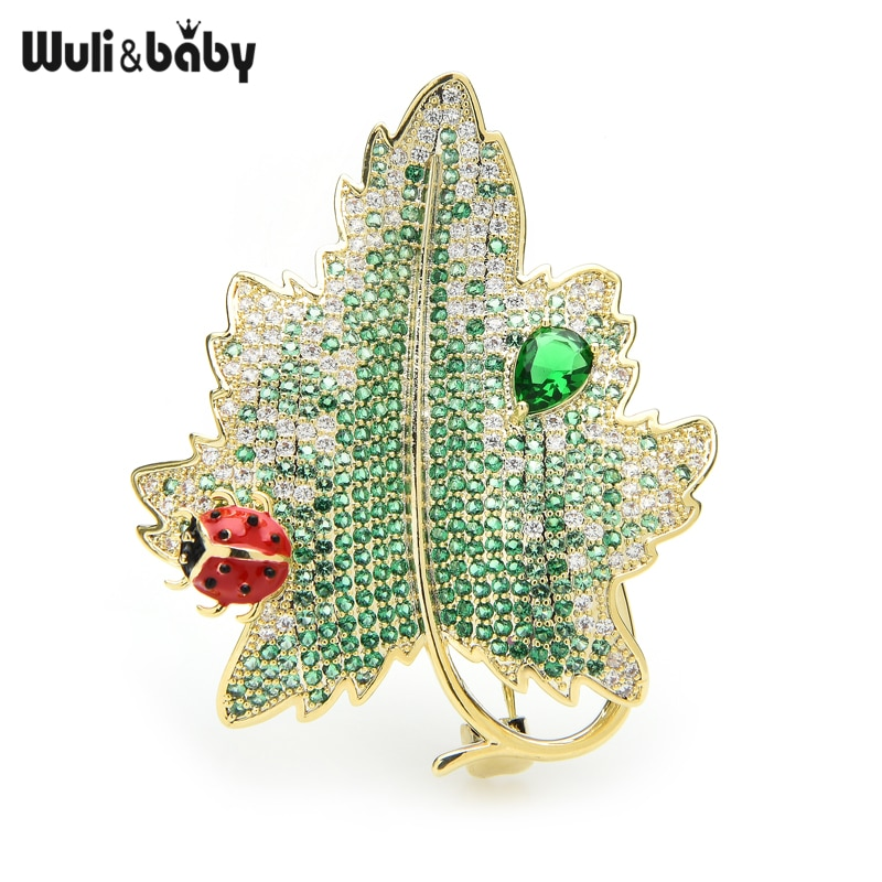 Wuli&baby Luxury Zircon Beetle And Leaf Brooches Green Leaf Weddings Banquet Office Brooch Pins Gifts