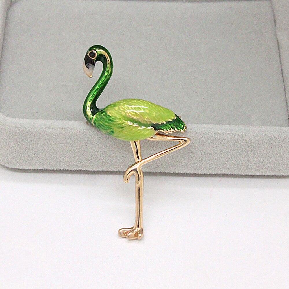 JUJIE Fashion Enamel Bird Brooches For Women Animal Flamingo Brooch Pins Banquet Wedding Jewelry Dropshipping