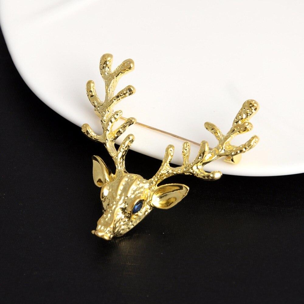 JUJIE Fashion Deer Brooches For Women 2020 Enamel Animal Jewelry Gift Pins