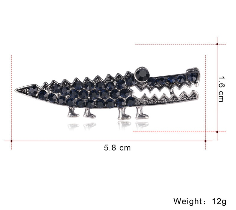 JUJIE Vintage Crystal Crocodile Brooches For Women 2020 Female Animal Broches Hijab Pins Cardigan Jewelry Dropshipping