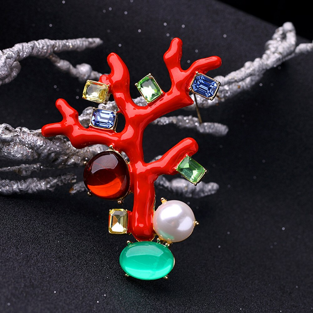 JUJIE Fashion Red Enamel Tree Brooches For Women 2020 Brochase Voor Vrouwen Crystal Pearl Plant Brooch Pin Jewelry Dropshipping