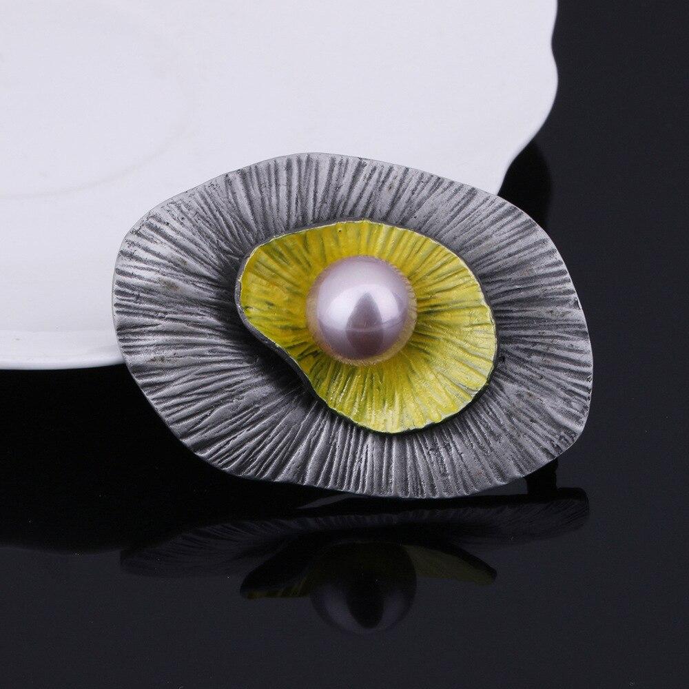 JUJIE Vintage Multicolor Pearl Brooch Female Geometric Irregular Rhinestone Pins Gift