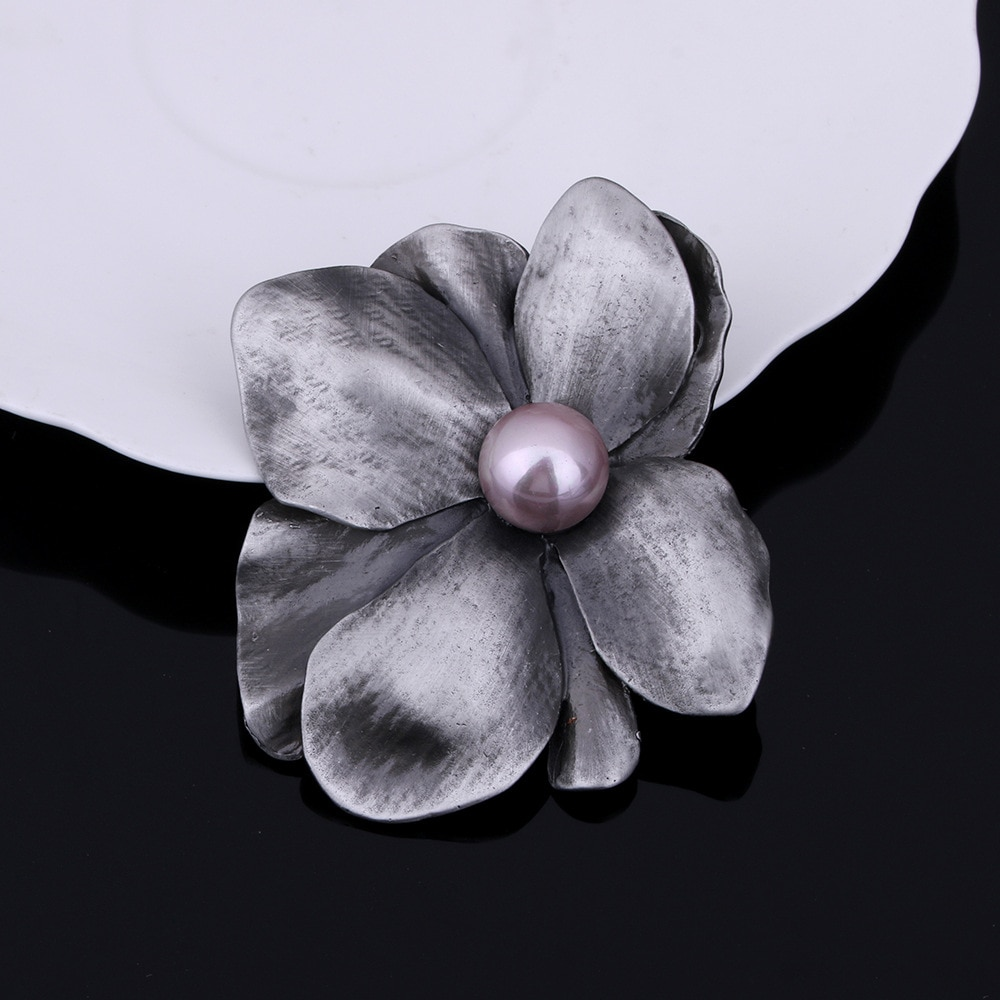 JUJIE Vintage Original Pearl Brooches For Women 2020 Classic Large Flower Brooch Pins Plant Jewelry Dropshipping