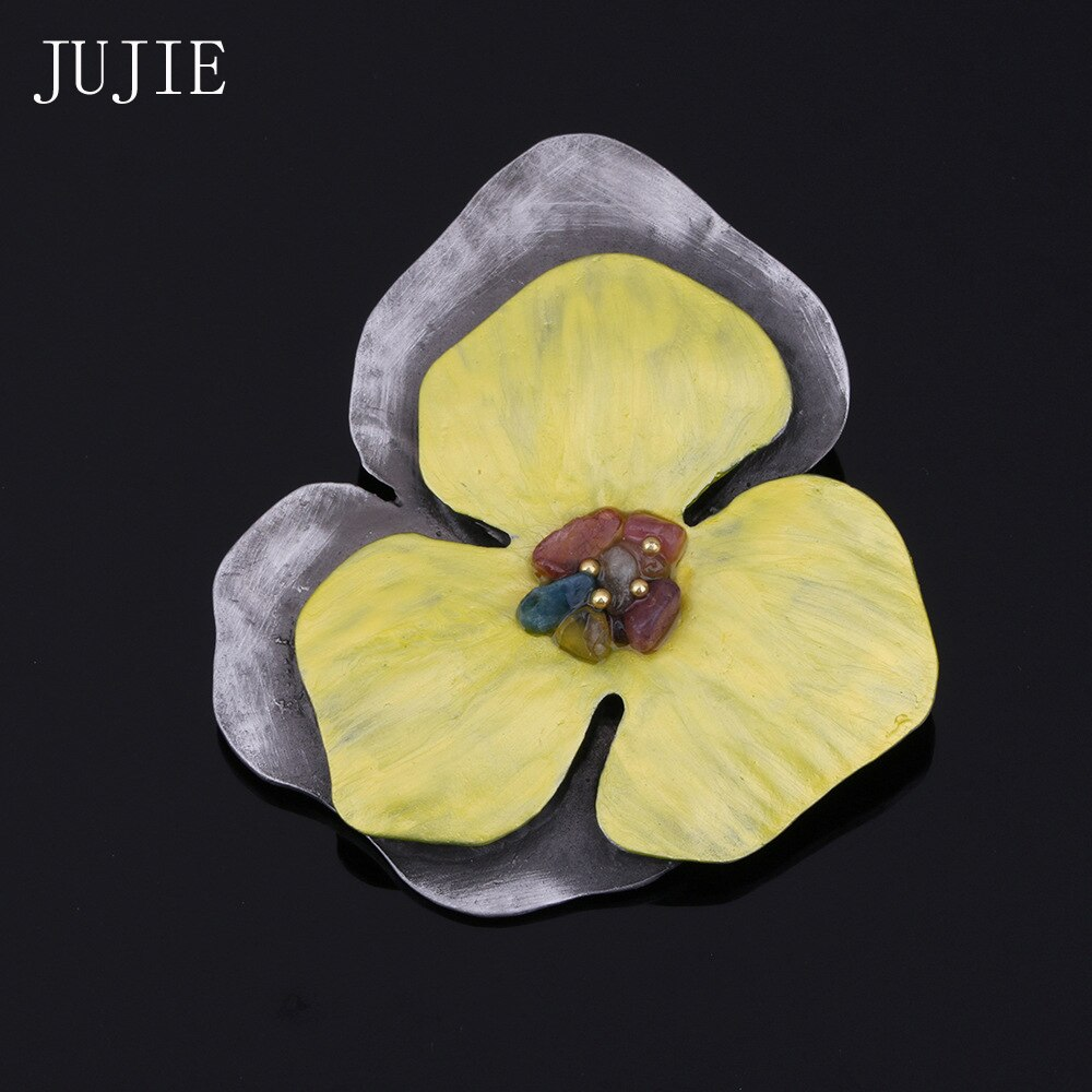 JUJIE Vintage Yellow Enamel Flower Brooches For Women 2019 Multicolor Stone Brooch Pins For Outerwear Plant Jewelry Dropshipping