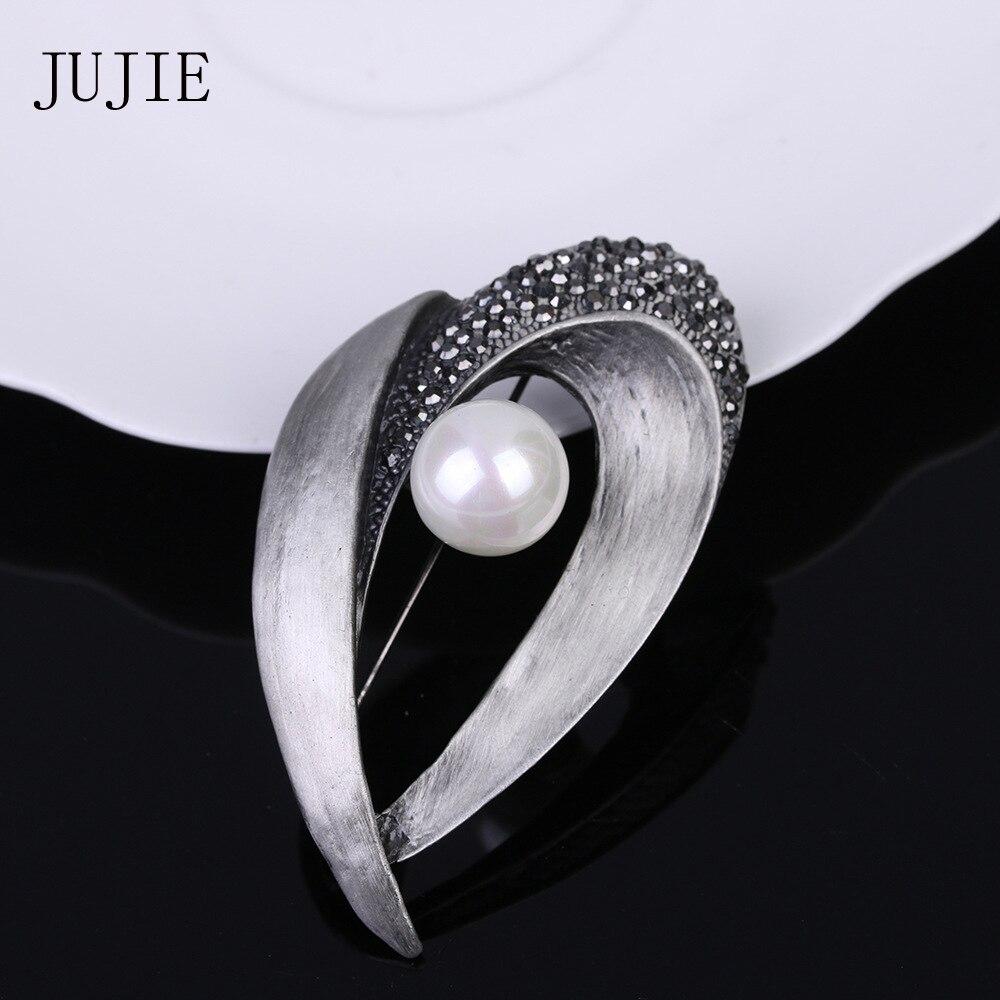JUJIE Vintage Pearl Female Brooch Geometric Irregular Pins Brooch Jewelry