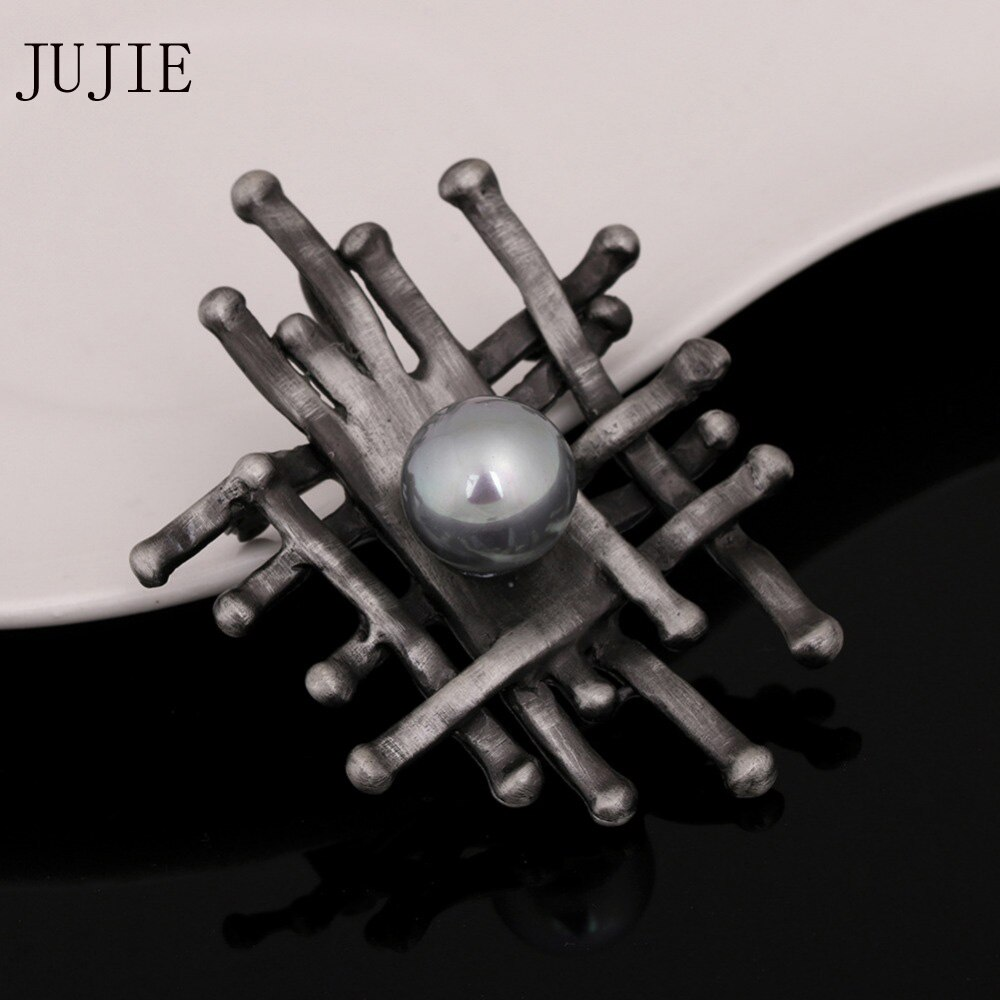 JUJIE Vintage Pearl Brooches For Women 2019 Geometric Exquisite Plant Brooch Pins Voor Vrouwen Jewelry Dropshipping
