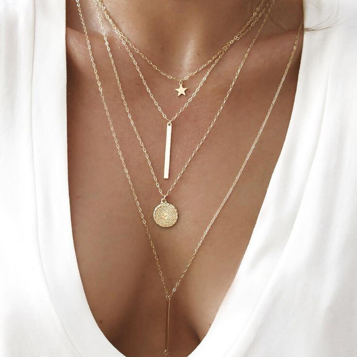 HebeDeer Multilayer Chain Necklace Women Pentagram Necklaces Jewelry Yellow Gold Color Trendy Bohemia Collares Collier