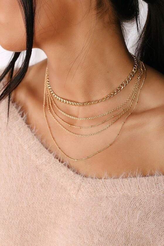 ABDOABDO Gold Choker Necklace Layered Chain Women Statement Necklaces Jewelry Collier Girl Stainless Steel Jewelry Harajuku