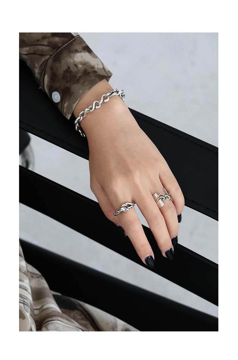 F.I.N.S Trendy NEW Design Retro Vintage Smooth Knotted S925 Sterling Silver Ring Wide Female Finger Rings for Women Fine Jewelry
