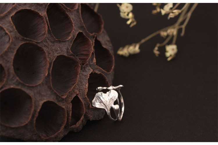Flyleaf Ginkgo High Quality Real 925 Sterling Silver Rings For Women High Quality Fine Jewelry Femme Open Ring Vintage Wholesale