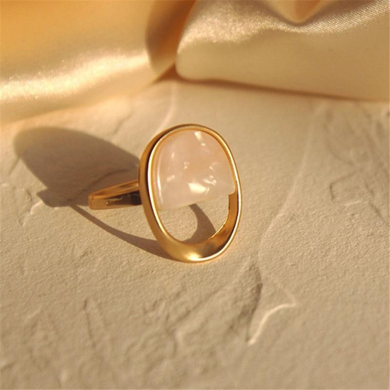 Fashion elegant ring Female Trendy Geometric Wedding bands rings minimalist style oval shall not adjust resin ring for women