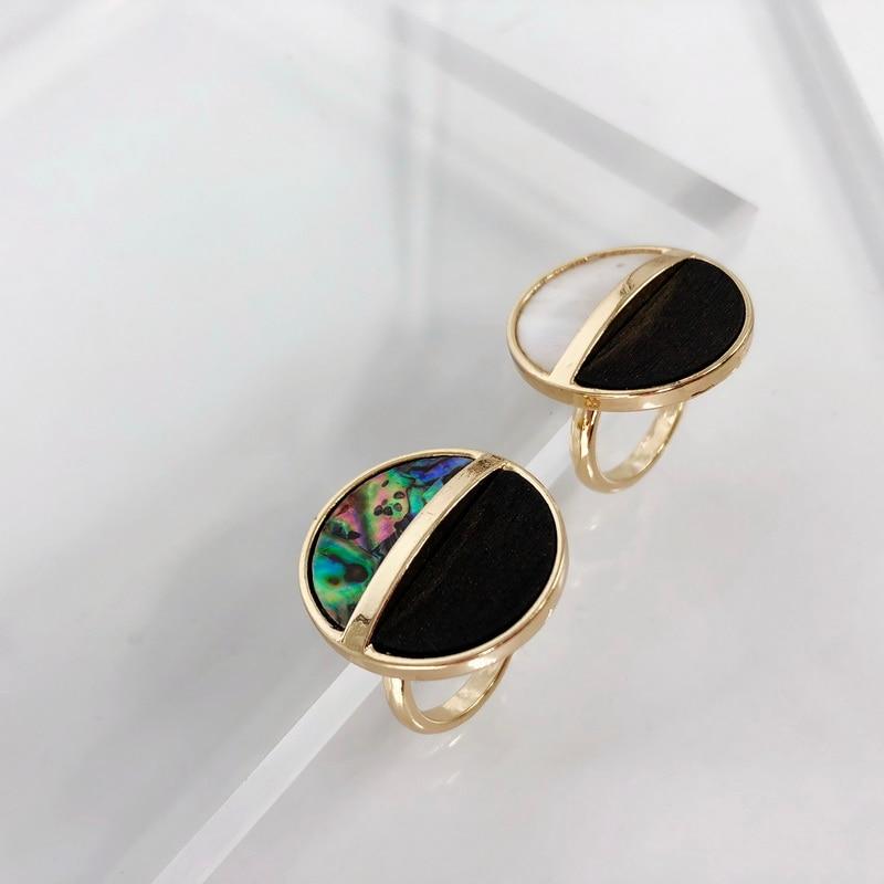 F.J4Z New Geometric Rings Fashion Minimalist Jewelry Abalone Shell Finger Rings Noval Big Wood Fingers Accessories Dropship