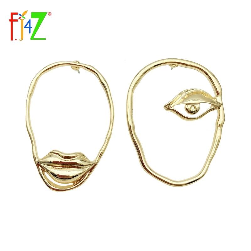 F.J4Z Women Chic Earrings Trendy Funny Alloy Lip Eye Earrings Fashion Female Nova Jewelry for Party
