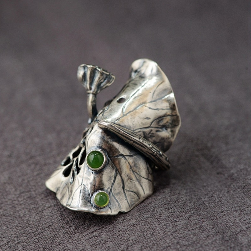 V.YA 990 Sterling Silver Ring for Women Men Vintage Lotus Leaf with Green Natural Stone Party Rings Jewelry