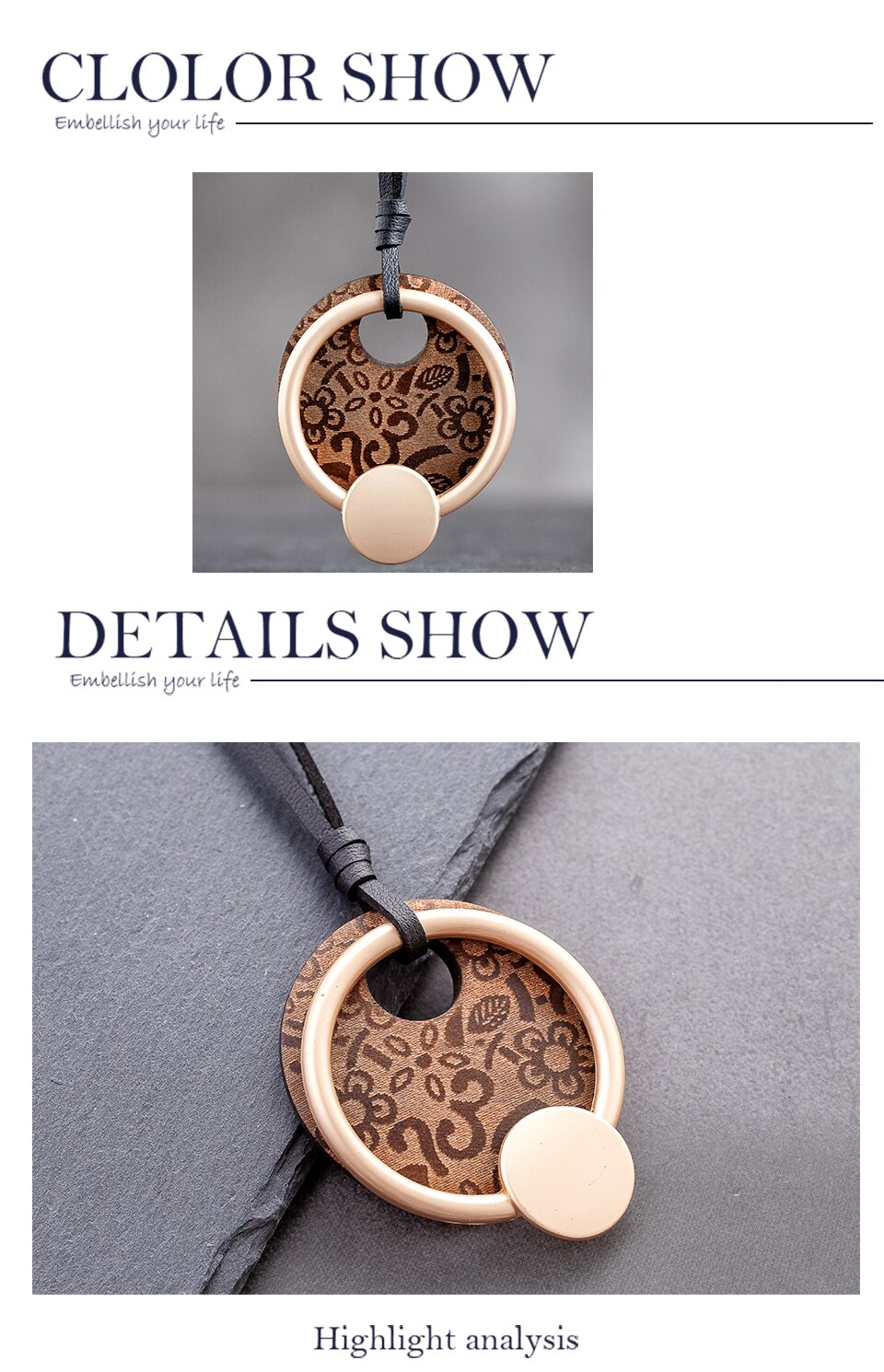 Round Wooden Fashion Women's Jewelry Accessories Cute Simple Long Pendants Necklaces Female Neck Suspension Decoration Gift 2020