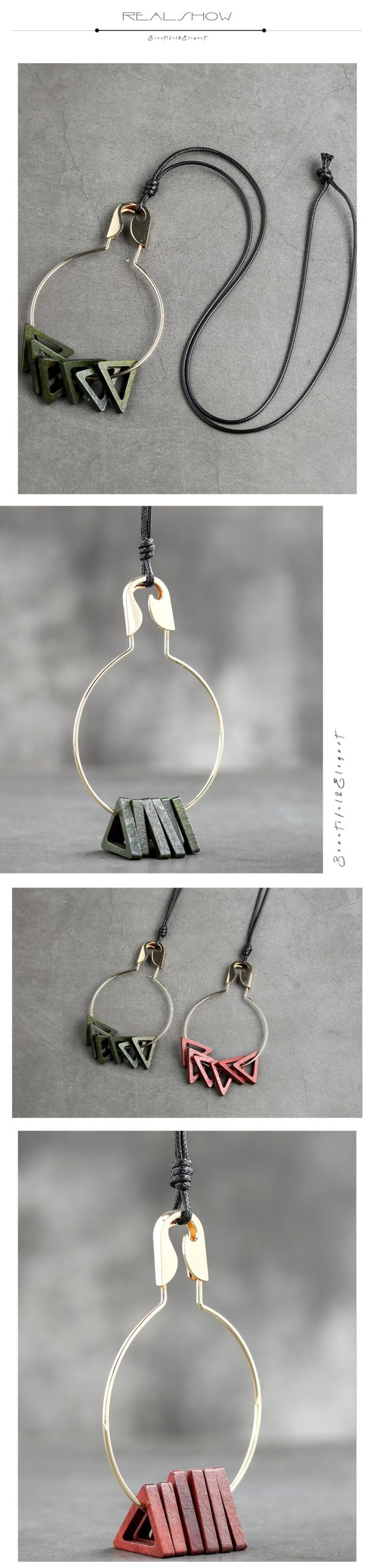 Triangle Wooden Long Chain Pendants Necklace Jewelry For Women Vintage Bohemian Suspension Neck Decoration Accessories Wholesale