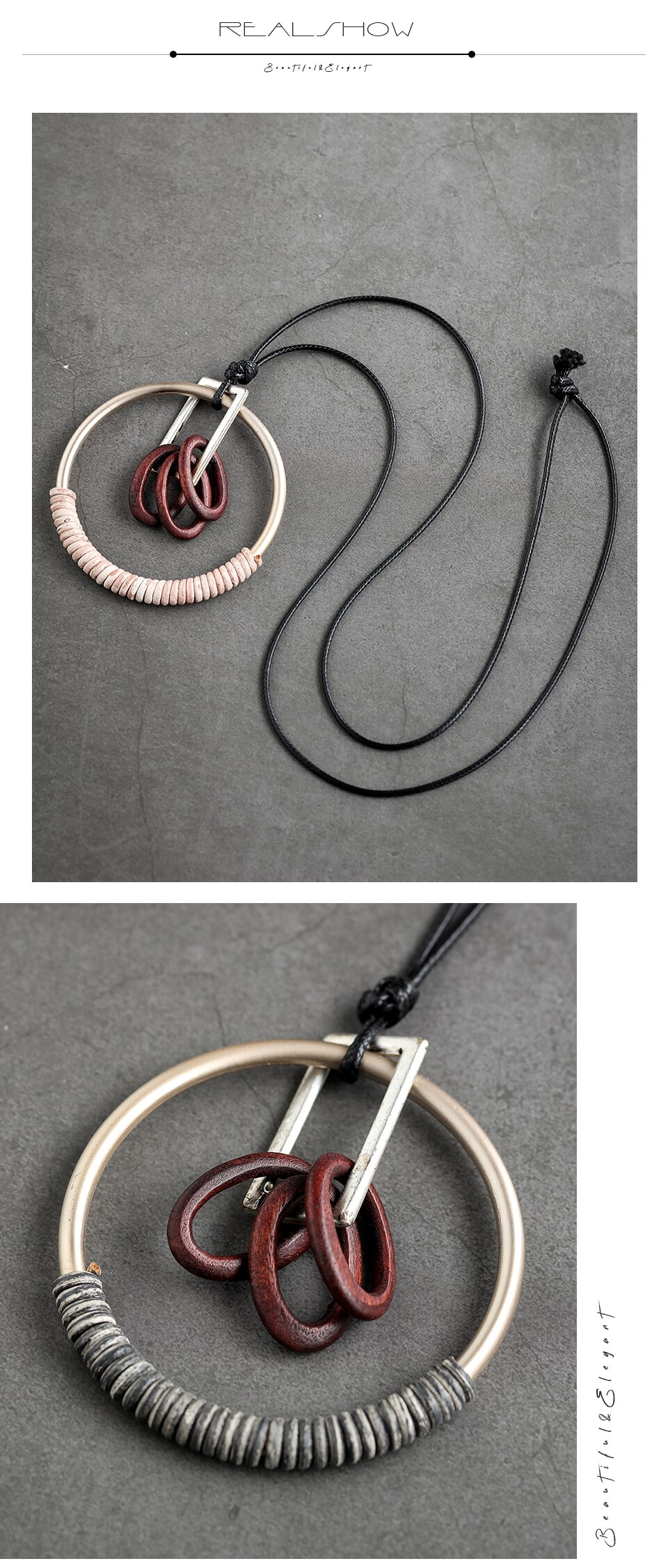 Vintage Jewelry for Women Long Necklace Wood beads Pendants necklaces & pendants Jewellery Suspension Gothic Rope Chains Chokers