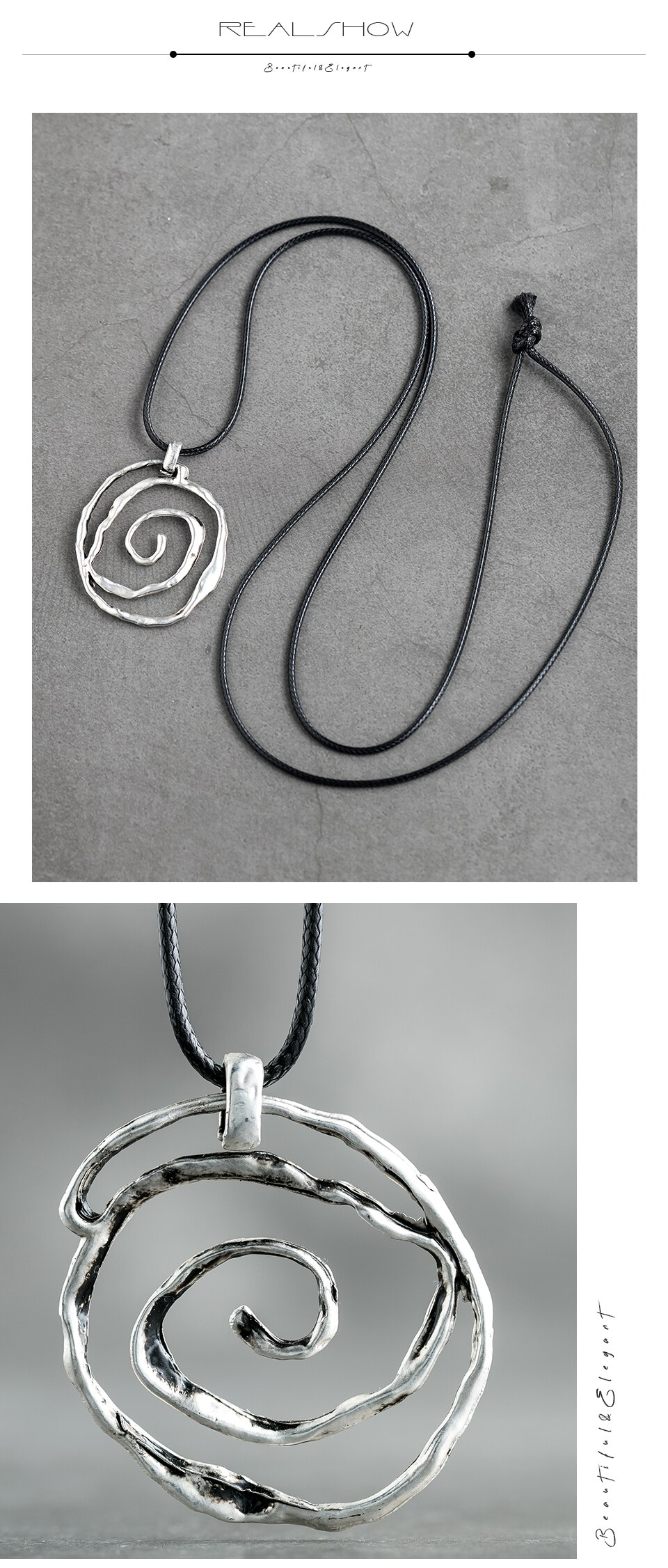 Vintage Necklace Circular Circle Rope Long Chain Unicorn Necklace Zinc Alloy Handmade Pendant Gifts For Women Fashion Jewelry
