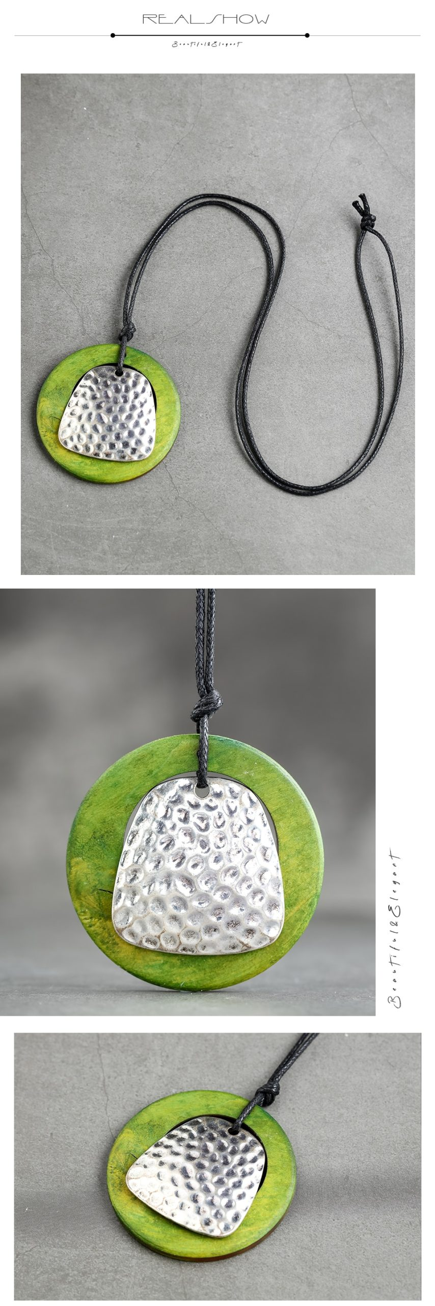 Green Wooden Long Necklace Women's Vintage Jewelry Handmade Accessories Zinc Alloy Necklaces&Pendants Suspension Jewellery 2020