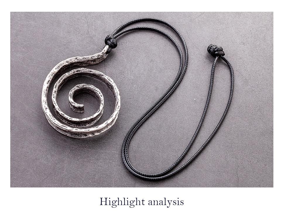 Handmade Vintage Geometric Necklace Antique Statement Suspension Accessories Long Chain Pendants Fashion Jewelry For Women 2020