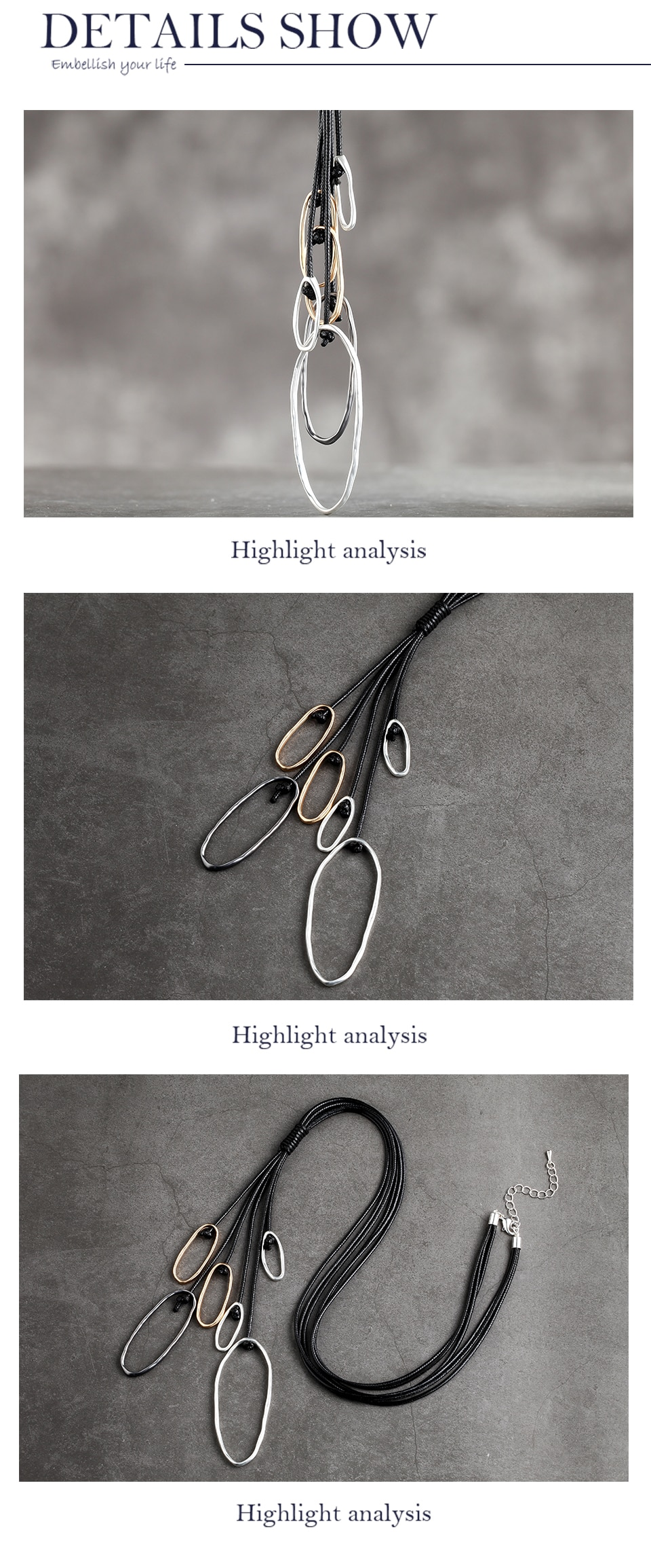 Necklace Long Fashion Jewelry For Women Rope Chains Metal  Female Gifts Neck Chokers Necklaces & Pendants Suspension collar 2020